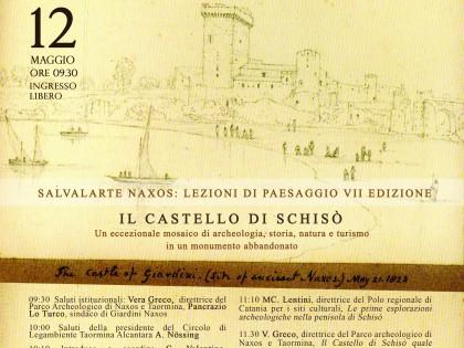 Salvalarte Naxos 2018 sul Castello di Schisò, convegno ed incontro con Sebastiano Tusa, assessore ai beni culturali Sicilia